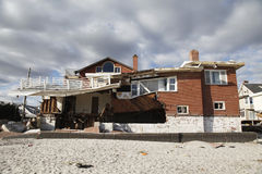 Destroyed beach house in the aftermath of Hurricane Sandy in Far Rockaway, NY Royalty Free Stock Photo