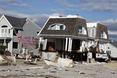 Destroyed beach house in the aftermath of Hurricane Sandy in Far Rockaway, NY Royalty Free Stock Photos