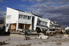 Destroyed beach house in the aftermath of Hurricane Sandy in Far Rockaway, NY Stock Photos