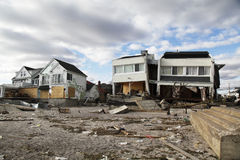 Destroyed beach houses in the aftermath of Hurricane Sandy in Far Rockaway, NY Stock Images