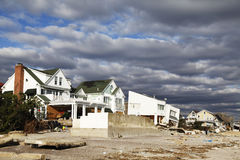 Destroyed beach houses in the aftermath of Hurricane Sandy in Far Rockaway, NY Royalty Free Stock Photos