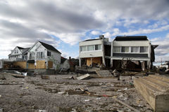 Destroyed beach houses in the aftermath of Hurricane Sandy in Far Rockaway, NY Stock Photos
