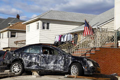 Destroyed car in the aftermath of Hurricane Sandy  in Far Rockaway, NY Royalty Free Stock Photo