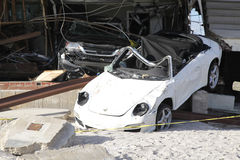Destroyed car in the aftermath of Hurricane Sandy  in Far Rockaway, NY Stock Photography