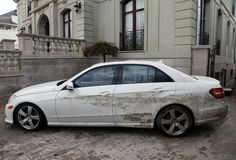 Water damaged car in the aftermath of Hurricane Sandy  in Far Rockaway, NY Stock Images
