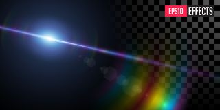 Far Star. Vector Transparent Sci-Fi Blue Star Special Lens Flare Light Effect. royalty free stock images