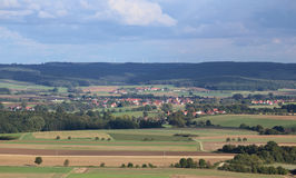 Far view on Aberzhausen (front) and Alfershausen (back) from Schlossberg (Heideck) Royalty Free Stock Image