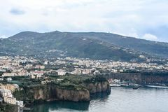 Far view from the amalfi coast in italy stock image