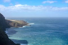 Far view over the coast by the sea royalty free stock photography