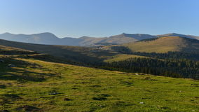 Far view of the Rânca resort from Transalpina road. Royalty Free Stock Photo