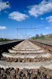 Far view of the railway. From way centre Royalty Free Stock Image