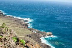 Far view of the rocky coast of Tenerife royalty free stock photography