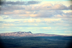 Far view on Swedish mountain in Jaemtland with slight vignetting and vintage style Stock Photos