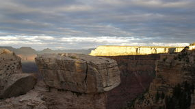 The far wall of the Grand Canyon lit by the sun Stock Photos