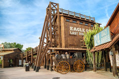Far West area of theme park Port Aventura in city Salou, Spain. Royalty Free Stock Images