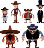 Far west cartoon characters. Wild west People cartoon Special Characters Costumes Avatar Set,  illustration. With Cowboy, Cowgirl, Tall Sheriff, Fat Short Stock Photo
