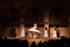Far White Robe Whirling Dervish Sufi Dance Cairo Stock Photos