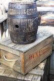 Far wild west decoration. Barrel and dynamite boxes as a concept of far wild west Royalty Free Stock Images