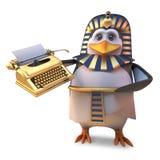 Faraón egipcio del penuin de la historieta divertida que sostiene una máquina de escribir de oro, ejemplo 3d libre illustration