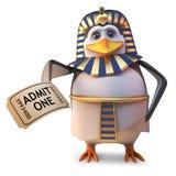 Faraón egipcio del pingüino de la historieta que celebra un boleto de la admisión, ejemplo 3d stock de ilustración