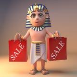 Faraón egipcio Tutankhamun del cazador de negocio que sostiene algunos bolsos de compras de la venta, ejemplo 3d libre illustration