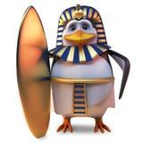 Faraón noble Tutankhamun del pingüino que sostiene el más último de tablas hawaianas del oro, ejemplo 3d stock de ilustración