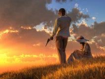 Fara på solnedgången stock illustrationer