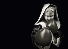 Fara som ser den unga boxningkämpen Arkivfoto