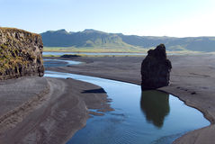 Faraglione Vik Iceland. Panorama from the heights on the cliff near the colony of puffins Stock Image