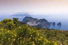 Faraglioni海岛和峭壁,卡普里岛,意大利 免版税库存照片