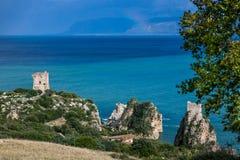 Faraglioni and beautiful sea at Scopello, Sicily, Italy Stock Image