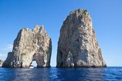 Stella (di Mezzo) and Scopolo (di Fuori): giant Faraglioni rocks, Capri island - Italy Stock Photos