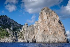 The Faraglioni of Capri seen from the sea. Italy royalty free stock photography