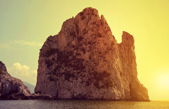 Faraglioni Cliffs in island Capri Stock Photo