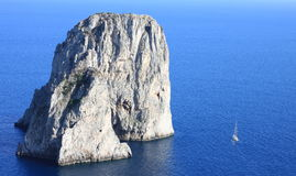 Faraglioni Cliffs, Mediterranean Sea Coast, Capri, Italy, Europe royalty free stock photos
