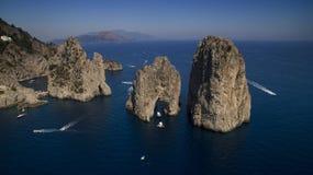 Faraglioni di Capri. Faraglioni Stella, Mezzo, Scopolo in Capri stock photography