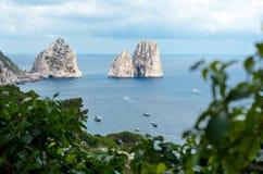 Faraglioni, famous giant rocks, Capri island Royalty Free Stock Photos