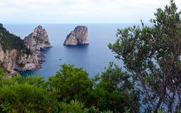 Faraglioni, famous giant rocks, Capri island Royalty Free Stock Images