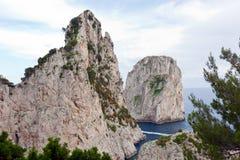Faraglioni, famous giant rocks, Capri island Stock Images