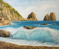 Faraglioni on Island Capri. An oil painting on canvas of a famous Faraglioni Rock formation on island Capri in Naples Bay area with a crystal clear wave Royalty Free Stock Image