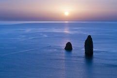 Faraglioni of Lipari, aeolian Island. Faraglioni of Lipari, Long Stone and Stone Menalda royalty free stock photos
