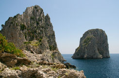 The Faraglioni rocks, Capri. Italy royalty free stock photos
