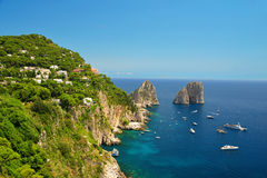 Faraglioni rocks in Capri, Campania region of Italy. Royalty Free Stock Images