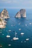 Faraglioni rocks of Capri island, Italy. Vertical Royalty Free Stock Photography