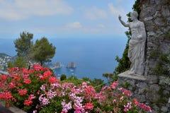 Faraglioni rocks Capri, Italy. Faraglioni rocks from Monte Solaro at Capri island in the Tyrrhenian Sea in Italy royalty free stock photography