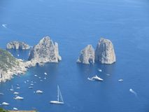 Faraglioni rocks in Capri. From a mount. This picture shot in 2016 stock photos