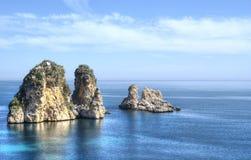 Faraglioni at Scopello, Sicily. Faraglioni at Scopello in high dynamic range, Sicily Royalty Free Stock Photo