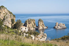 Faraglioni and Tonnara at Scopello, Sicily Royalty Free Stock Image