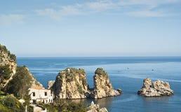 Faraglioni and Tonnara at Scopello, Sicily Royalty Free Stock Images