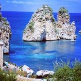 Faraglioni in Sicily. Spectacular faraglioni and sea in the splendid sicily stock photo